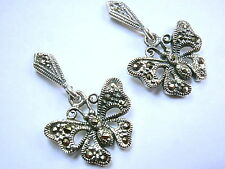 Butterfly Marcasite Stud Earrings 925 Sterling Silver Dangle Corona Sun