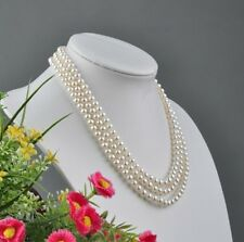 NATURAL LOVELY 3ROW 6-7MM WHITE NATURAL PEARL NECKLACE JEWLERY