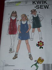 KWIK SEW #2535- GIRLS CUTE ( 3 STYLE ) SCHOOL JUMPER w/wo POCKETS PATTERN 8-14uc