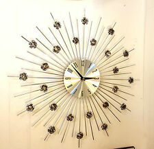 Modern Chrome Hand Crafted Wall Clock 50cm Quartz Movement Spikes Silver Roses