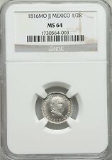 MEXICO SPANISH COLONIAL FERD. VII  1816-MoJJ 1/2 REAL COIN, CERTIFIED NGC MS64