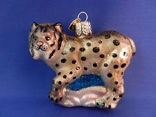 Lynx Cat Old World Christmas Ornament Blown Glass Tree Wild Animal NWT 12361