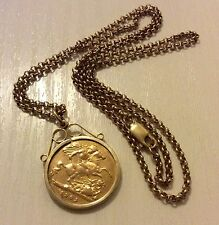 Superb Antique Victoria 1901 Solid 22ct Half Sovereign Pendant On Nice 9ct Chain