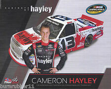 """2016 CAMERON HAYLEY """"CABINETS BY HAYLEY HANDS ON HIP"""" #13 NASCAR CWTS POSTCARD"""