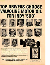 1967 INDIANAPOLS 500 DRIVERS / FORMULA 1 RACING   ~  ORIGINAL VALVOLINE OIL AD