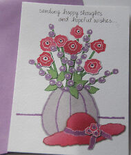 Red Hat Thinking of You Get Well Card / Card w Purple Envelope / NEW