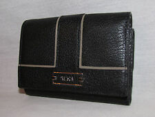 Tumi Chelsea Clutch Wallet Card Case Black Pebbled Leather Trifold Coin ID Lock