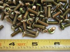 Machine Screws 8/32 x 1/2 Phillips Pan Head Steel Yellow Zinc Lot of 100 #3502