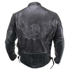 Mens Premium Black Distressed-Leather Flying Skull Racer Jacket size M