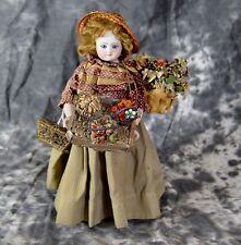 UNIQUE  Antique Bisque Wooden Body Peddler Fashion Lady Doll French German
