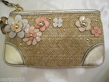 RARE! COACH Natural STRAW Flowers Large WRISTLET GOLD Studs LIMITED ED. EUC!