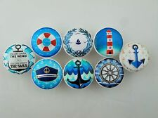 Set of 8 Blue and White Nautical Cabinet Knobs Beach Cottage