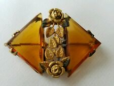 Vintage Czechoslovakia Amber Rhinestones Gold Rose Victorian Brooch 1.75×1.25