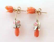 Vtg 14K Rose Gold Art Deco Red Coral Enamel Drop Dangle Stud Earrings Antique