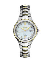 New Seiko SUT308 Solar Coutura Two-Tone Diamond Stainless Steel Ladies Watch
