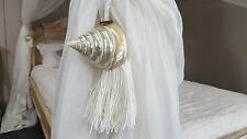 Natural Cotton & Shell Tie Backs / Tassels - Pair