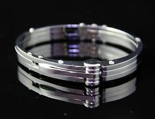 Unisex Men's Silver Stainless Steel Bangle Buckle Bracelet With Clasp Handcuff