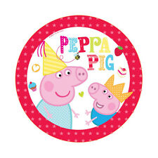 """8 Peppa Pig RED Birthday Party Small 7"""" Dessert Paper Plates"""