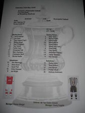 1998 FA Cup Final Arsenal v Newcastle United Matchsheet