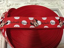 1 Metre Minnie Mouse Red Spotty Grosgrain Ribbon Designer 22mm Cakes Bow Dummy