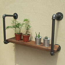 URBAN INDUSTRIAL RUSTIC RETRO IRON PIPE WALL MOUNT WOOD SHELF RACK SHELVING