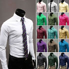 Mens Stylish Long Sleeves Dress Shirts Luxury Casual Slim Fit 17 Colors 5 Size