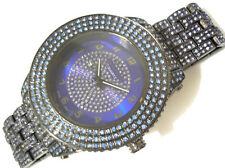 Iced Out Bling Bling Big Case Hip Hop Techno King Men's Watch Black / Blue