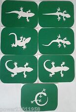 Pack of 7 Lizards-1 Lizard Vinyl Tattoo Body Art Stencils Glitter-Airbrush