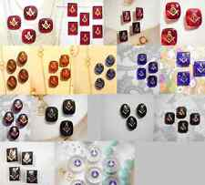 30 PC MIXED LOT RARE Vintage West German Glass Masonic Stones with Insignia