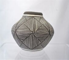 "Native American Indian Pueblo Pottery Small 2.5"" Pot By H E China 1977 Acoma NM"