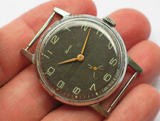 '1970s Old soviet ZIM POBEDA watch Military black dial *SERVICED*