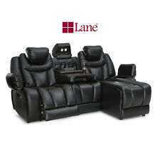 Lane Vantage Row of 3 Sofa Fold-Table Leather Gel Black Power Home Theater Seat