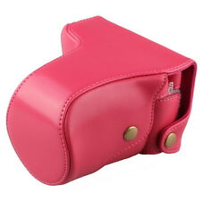 Camera Leather Case Bag for Nikon 1 J1 J2 J3 10-30mm/30-110mm Lens Rose Red