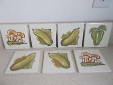 vintage Lamosa Mexico VEGETABLE TILES ceramic Lot of 7 Pepper Squash Mushrooms