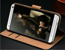 Luxury Genuine Real Leather Flip Case Wallet Cover & Screen Guard For HTC ONE M7