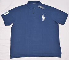 New 3XB 3XL BIG 3X POLO RALPH LAUREN Men's Big Pony shirt top Navy blue solid RL