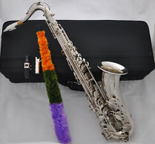 Prof Silver Nickel Plated Tenor Saxophone Bb High F# Sax + Metal mouthpiece Case