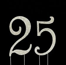Large 25th Birthday Anniversary Number Cake Topper Sparkling Rhinestone Crystals