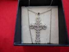 "Simulated Pink Diamond Cross Pendant in Platinum Overlay w/20"" Stainless Chain"
