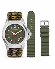 Victorinox INOX 241727.1 Green Dial Green Paracord & Rubber Set NWT BOX & PAPERS