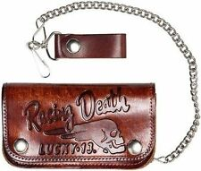 Lucky 13 Death Racer Skull Chain Antique Embossed Brown Leather Biker Wallet
