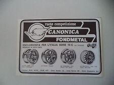 advertising Pubblicità 1980 RUOTE CANONICA FONDMETAL - ASTI