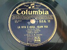 78 rpm- CARLO BUTI chante PIAF la vie en rose-La vita e rosa- COLUMBIA DCQ 12