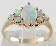 DIVINE  9CT 9K GOLD ALL FIERY AUSTRALIAN OPAL CLUSTER RING  FREE RESIZE