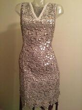 Michael Kors 295$ DRESS Crochet Metallic Lace sequins S M US 6 Silver Party