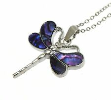Beautiful Purple Abalone Paua Shell Dragonfly Pendant On Silver Colour Necklace