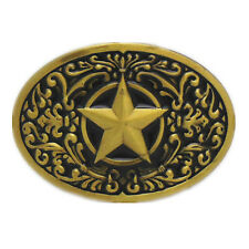 Rodeo 5 Point Star Silver Sheriff Badge Belt Buckle Brass Boucle De Ceinture Men