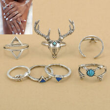 7Pcs/Set Cool Women Stack Plain Above Knuckle Ring Silver Midi Finger Tip Rings