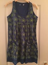Joe Brown Blue And Green Flower Print Dress With Pockets Size 8