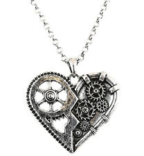 Silver Heart Gear Pendant Steampunk Necklace Punk Goth Rock Victorian